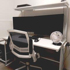 パソコンデスク ラック ワークデスク デスク 幅120cm 奥行56cm 収納 ラック 棚付き スリム 木製 スタンダード パソコンラック | サンワサプライ(フリーデスク、平机)を使ったクチコミ「夫の部屋。 パソコンデスクを買い替えて …」