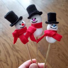 クリスマス雑貨/スノーマン/クリスマス2019/雑貨/ハンドメイド/ピック クリスマスリースを作る時に使おうと急遽ス…