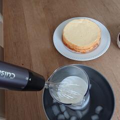 コードレス充電式ハンドブレンダー RHB-100J | クイジナート(その他調理用具)を使ったクチコミ「今日は生クリームを作ってケーキを作ってみ…」(2枚目)