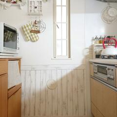 腰板風/DAISO/キッチン壁紙/DIY/ニトリ/100均 我が家のキッチンの壁紙は、DAISOのリ…