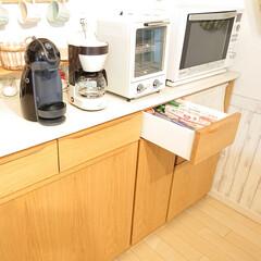 トースター オーブントースター おしゃれ 2枚 縦型 オリジナルレシピ付 コンパクト キッチン家電 プレゼント ラドンナ Toffy トフィ―オーブントースター | Toffy(トースター)を使ったクチコミ「キッチンボードの引き出しに、ラップ・アル…」