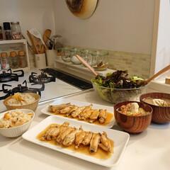 夕飯/食事情/100均/DIY 昨日の夕飯は 栗ご飯 鶏肉のマーマレード…