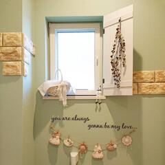 ガーランド/編み物大好き/手作り/雑貨だいすき トイレの小さな窓です♪ 窓の周りを可愛く…