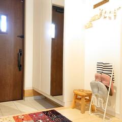 玄関マット ウィルトン織り 約60×90cm 室内 おしゃれ 高級感 ドアマット エントランスマット 屋内 マット ib | イケヒコ(室内用玄関マット)を使ったクチコミ「今日は旦那さんが、玄関タイルをごしごし洗…」