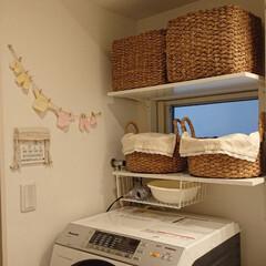 かご収納/ニトリ/DIY お風呂場には収納スペースがなかったので旦…