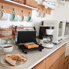 記念品・大量購入の見積歓迎向けToffy 4カップコーヒーメーカー ペールアクア 台所/便利/調理に! | Toffy(ジューサー、ミキサー、フードプロセッサー)を使ったクチコミ「今日のお昼ご飯は、パニーニメーカーでピザ…」(1枚目)