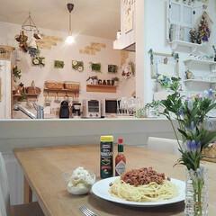 料理/スパゲッティー/ミートソース/夕飯 ミートソーススパゲッティー作りました♪私…