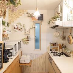 雑貨/DIY/キッチン用品/TOFFY/キッチン収納 小窓に作った窓枠風を外して、引きで撮って…