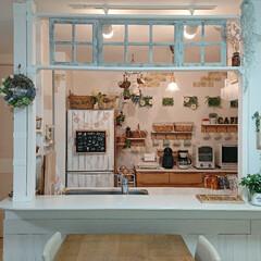 カフェ風/キッチン/ラブリコDIY/DIY/みんなにおすすめ ラブリコを使いDIYして、ずっとイメージ…