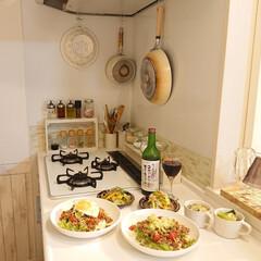 タコライス/夕飯/フライパン収納/キッチン雑貨/暮らし/DIY/... 沢山野菜を使って タコライス マリネ 野…