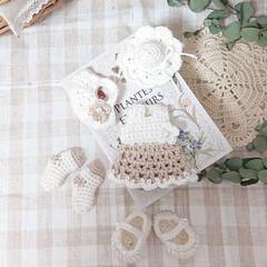 minneで販売予定です/ガーランド/編み物大好き/冬/ハンドメイド ホワイトとベージュ(カフェラテ風カラー)…