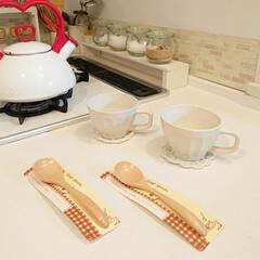 100円/スープカップ/スープスプーン/セリア 昨日セリアで買ったもの♪ 木製スープスプ…