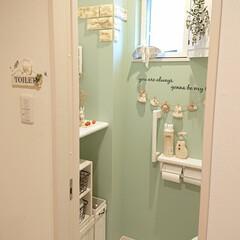 編み物/カバー/トイレ/セリア/100均/DIY トイレに消臭スプレーとマメピカを並べて置…
