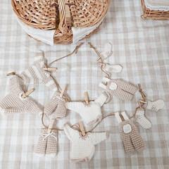 ガーランド/編み物大好き/ハンドメイド/わたしのお気に入り 編み物で洗濯物ガーランド作りました🎶1つ…