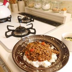 WECK チューリップ シェイプ 370ml WE-746 WE-746 ウェック | ウェック(ガラス瓶、キャニスター)を使ったクチコミ「今日の夕飯は、ピリ辛のキーマカレー夏野菜…」