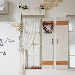 クリスマス/リース/小窓/DIY リビングの小窓を少しクリスマスっぽくして…