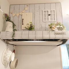 ナチュラルインテリア/換気扇/DIY/キッチン 昨日作った、ガーランドを換気扇に飾りまし…
