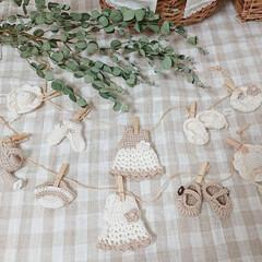 編み物大好き/ガーランド/ハンドメイド/雑貨だいすき ちょっと前に編み物で作ったガーランド2つ…