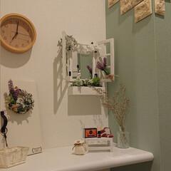 編み物/トイレ/鏡/ニトリ/DIY トイレの鏡を作りました☺️ 100均の材…