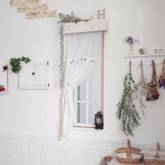 スリコ/DIY/ハンドメイド/100均 ダイニングの小窓のカーテンBOX風、カー…