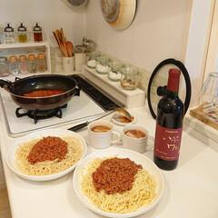 ワイン/夕飯/セリア/100均/暮らし 昨日の夕飯はミートソーススパゲッティー🍝…