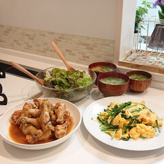 ニラ玉/夕飯/おうちごはんクラブ/キッチン/わたしのごはん 昨日の夕飯は鶏肉のマーマレード煮・ニラ玉…
