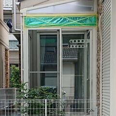 お庭/工事中/サンルーム/令和元年フォト投稿キャンペーン 我が家のサンルーム工事途中です。 緑のシ…