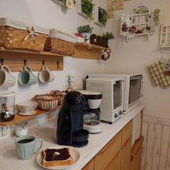 パン/あずき/お昼/おうちごはん/DIY/キッチン お昼は甘いパンが食べたくなり、あずき&バ…