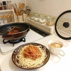 はんぷ亭/手作り料理/スパゲッティー/キッチン 昨日の夕飯はミートソーススパゲッティーを…