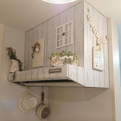 キッチン/換気扇/100均/DIY 我が家のキッチンの換気扇です♪ ドアオブ…