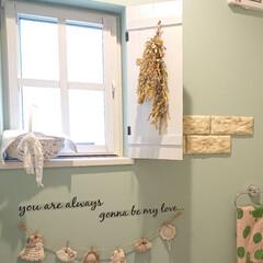 窓/トイレ/DIY/雑貨/おしゃれ/100均 トイレの小さな小窓に窓枠を作りました。 …