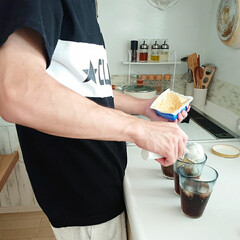 息子の手料理/コーラフロート/はらぺこグルメ 大学1年息子君が珍しくコーラフロート作っ…