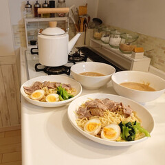 つけ麺/娘の手料理/夕飯/ケトル/ニトリ/おうちごはん 小6娘ちゃんが作ってくれた、チャーシュー…