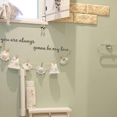ガーランド手作り/アクセントクロス/トイレ/DIY/100均/おうち 何気なく工務店さんにお願いしたトイレのク…