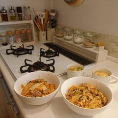 WECK チューリップ シェイプ 370ml WE-746 WE-746 ウェック | ウェック(ガラス瓶、キャニスター)を使ったクチコミ「昨日の夕飯は豚キムチ丼と中華スープです♪…」(1枚目)