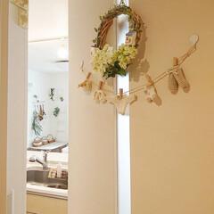 リース手作り/ガーランド手作り/ドア/おうち 玄関からリビングに行くドアに手作りガーラ…