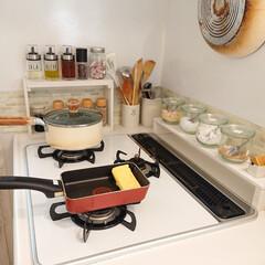 ティファール 卵焼きフライパン 14×18cm キャストライン IH対応 IHC76618(温湿度計)を使ったクチコミ「お昼ごはん、小6娘ちゃんが作った玉子焼き…」
