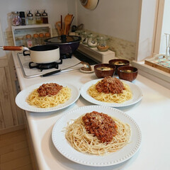 好物/夕飯/家族段落/家庭の味/次のコンテストはコレだ! 昨日の夕飯は、ミートソーススパゲティ🍝 …