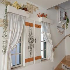 ドライフラワーのある暮らし/カーテン/リミアな暮らし/DIY 階段につけてるカーテン。 エアコンをつけ…