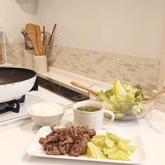お肉/夕飯/わたしのごはん/キッチン 旦那さんがご飯いらない日は、ちょっと手抜…