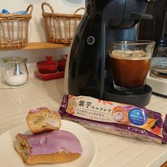 紫いも/エクレア/ドルチェグスト/おやつ/食欲の秋 スーパーで50円だったのでエクレアを家族…
