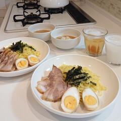 夕飯/つけ麺/キッチン/令和元年フォト投稿キャンペーン 昨日の夕飯は流水麺のつけ麺にチャーシュー…