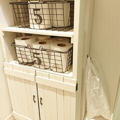 すのこDIY/ゴミ箱/100均/DIY トイレのゴミ箱を無くし、フックにビニール…