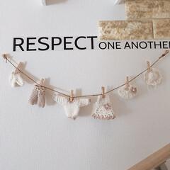 階段の壁/ガーランド/編み物大好き/わたしの手作り 男の子と女の子のデートガーランド作りまし…