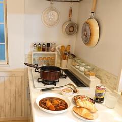 娘の手料理/フライパン収納/雑貨/暮らし/DIY/ニトリ/... 昨日の夕飯です♪ 小6娘ちゃん手作りビー…