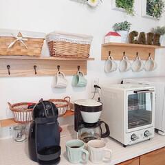 カフェコーナー/珈琲/キッチン/おうち自慢 キッチンボードのこのスペースは私がコーヒ…