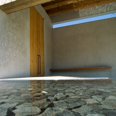 水盤/ゆらぎ/時/中庭/ポーチ/光と影/... 水盤に映り込む大きな扉。その光がポーチの…