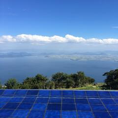 空/琵琶湖テラス/旅行/風景/雲/青 これぞ絶景ポイント、琵琶湖テラスから眺め…