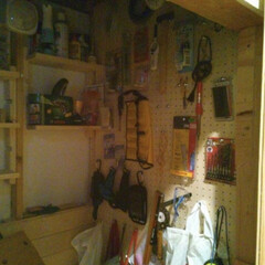 DIY/有効ボード/階段下/工具管理 階段下!  壁に穴を開けて!  中に、有…