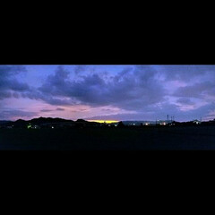 景色/夕暮れ/夕焼け/夕陽/お出かけ いつもと同じ景色ですが、夕焼けが素晴らし…